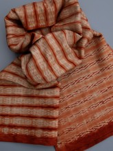 Woven shibori scarves at Silksational. This example dyed with Madder