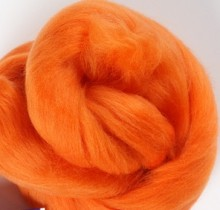 Orange merino wool top