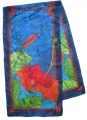 Hibiscus Scarf 45  cm x 180 cm red green gold
