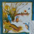 Kingfisher scarf 90 cm x 90 cm