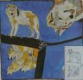 Wolf scarf 90 cm x 90 cm