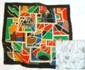 Abstract scarf 90 x 90 cm
