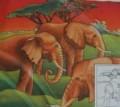Elephants scarf  90 cm x 90 cm