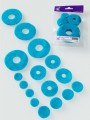 wool prefelt circle shapes in turquoise