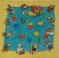 Pre Gutta Happy Bears silk scarf 43 x 43 cm