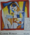 Cubism woman scarf 90 cm x 90 cm